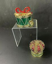 New Listing2 Vintage Trinket Boxes Enamel Jeweled Metal Holiday Drum & Crown