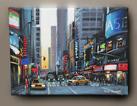 PETE RUMNEY ORIGINAL OIL PAINTING '42nd STREET NEW YORK' YELLOW TAXI CABS NYC