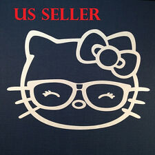 1pcs Hello Kitty W Eye Glasses Car Sticker Emblem Label / LapTop / iPad Stick #8