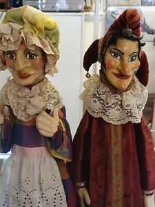 Antique Punch And Judy + Baby Hand Puppets.