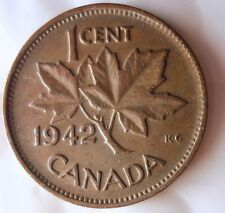 1942 CANADA CENT - Less Common Date - FREE SHIPPING - Big Canada Bin