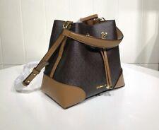 Michael Kors 100% MERCER GALLERY Bucket Shoulder Bag MK Logo Brown & Acorn NEW
