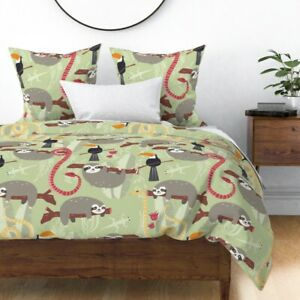 Jungle Animal Rainforest Animals Sloth Snake Sateen Duvet Cover by Roostery