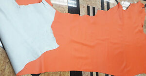 COWHIDE GENUINE LEATHER AMERICAN BEAUTIFUL ORANGE HIDE DIFFERENT SIZES