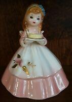 Vintage Josef Originals Bell Girl pink dress holds yellow Hat / Cake  Japan