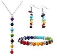7 Chakra Lava Stone Beads Yoga Reiki Healing Energy Necklace Bracelet EarringsAY