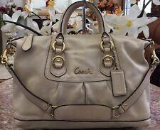 COACH Ashley F15445 Ivory Leather Convertible Satchel Shoulder Handbag Purse EUC