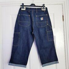 CARHARTT Men's Denim Altered Shorts Turn Ups W30 Dark Wash Blue