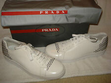 100% AUTHENTIC NEW MEN PRADA WHITE LEATHER STUDDED SNEAKERS UK 8/US 9 D