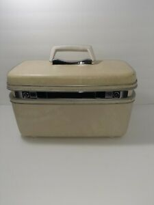 Vintage Samsonite Silhouette White Cream Train Makeup Hard Case Luggage