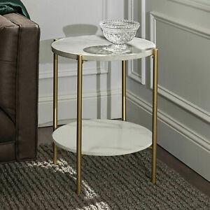 Real Marble Sofa Side Coffee Table Double Tiers Round Nesting Table Gold Frame