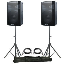 "2x Alto TX210 10"" 600W Powered Active PA Speaker DJ Disco Band + Leads + Stands"