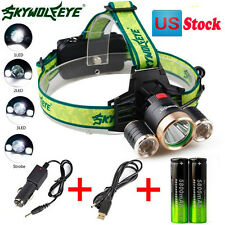 4Modes 9000Lm 3X XML T6 2R5 LED Headlamp Head Light Torch USB 18650 Car Charger