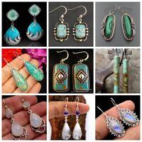 Fashion Women 925 Silver Turquoise Moonstone Ear Hoop Dangle Earrings Tear Drop