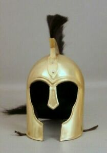 18 Guage Steel Medieval Knight Brass Plating Troy Helmet
