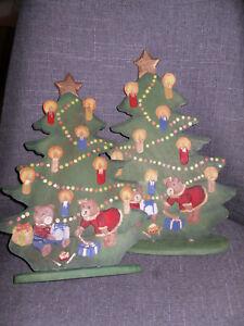 💚Land-Art Baum Tanne 31 cm Weihnachten Winter Holz handbemalt Christbaum Teddy