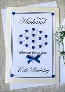 HUSBAND 75TH BIRTHDAY CARD A5 Handmade - with insert and envelope