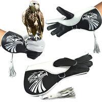 "Pure Genuine Nubuck Falconry Leather Hunting birds hawk Gloves 17"" & 14"" Cuff"