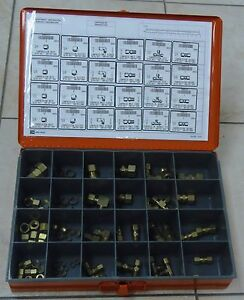 LARGE COMPRESSION FITTINGS, 78 PIECE BRASS ASSORTMENT with Carrying/Storage Case