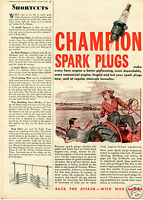 1943 Print Ad of Champion Spark Plugs Woman On Farm Tractor
