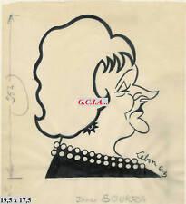 J.SOURZA -PORTRAIT /CARICATURE-ORIGINAL par LEBON -1963