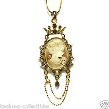 Gold Pl w Swarovski Crystal ~CAMEO Queen Crown Charm Pendant Chain Necklace Xmas