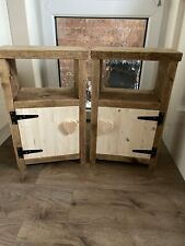 Bedside Tables Cabinets X2 With Door Handmade Rustic Solid Heart Free Postage
