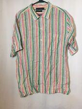 Grant Thomas Pure Linen Mens Short Sleeve Button Front Shirt Stripes Large