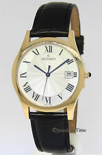 Movado 14k Yellow Gold Collection Leather Strap Mens Quartz Watch 70.c2.2870