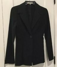CHARLOTTE RUSSE Black Jacket Unlined,Button Front,Belted Back Trim, EUC,Size 1/2