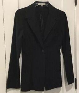 CHARLOTTE RUSSE Jacket,Unlined,black,Button Front,Belted Back Trim, EUC,Size 1/2