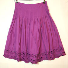 PURPLE LADIES CASUAL SKIRT A-LINE SIZE 10 GEORGE COTTON EMBROIDERED FULLY LINED