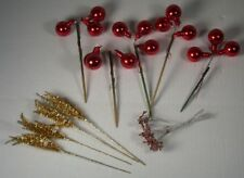 Vintage Christmas Lot - Picks/Spikes, Mercury Glass, Tinsel - Red, Gold, Copper