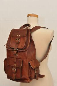 """Gift Men's Vintage Leather Backpack Rucksack 16""""Travel Sports School Hiking Bag"""