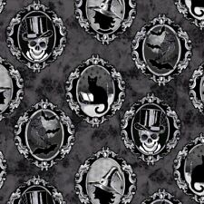 Halloween Fabric - Fright Night Spooky Portraits Black - Henry Glass YARD