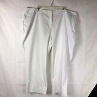 Lane Bryant Women's White Pants Size 26 Cropped Capri Cotton Blend 77P
