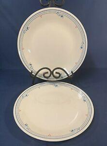 "Vintage Corelle COUNTRY VIOLETS Set of 2 Dinner Plates 10-1/4"" Ivory Blue/Red"