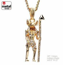 "Gold Plated Hip Hop Mini Egyptian Anubis Pendant 30"" 4mm Cuban Chain MMP 141 G"