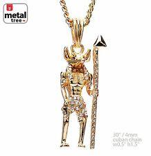 """Men's 14K Gold Plated Hip Hop Egyptian Anubis Pendant 30"""" Cuban Chain MMP 142 G"""