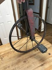 Vtg Antique Spoked Tricycle Front Wheel Metal W Pedals Red