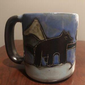 Signed, Hand-Painted Hand-Etched Mara Stoneware 16 oz. Bears Mug