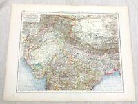1896 Antique of Northern India Indian Provinces Original German 19th Century