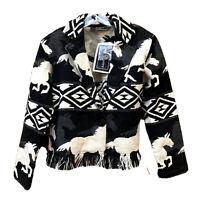 NWT New Identity Jacket Black White Hand Woven Southwest Horses Boxy Boho Gift S