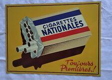 Plaque ancienne tôle litho Cigarettes Nationales Tolaque Strasbourg Hoenheim
