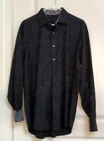 Bugatchi Uomo Men's Flip Cuffs Black Dress Classic Fit Cotton Shirt Sz L