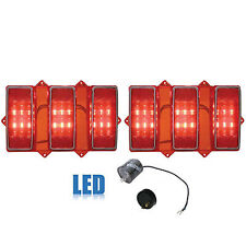 69 Ford Mustang Rear LED Tail Light Lamp Lens w/ Stainless Trim & Flasher Pair