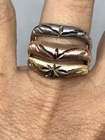 GOLD 14k multi band ring tri Yellow white Rose diamond cut wide 7 5 6 8 9 7.2g