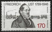 Germany (West) 1989 MNH - Transport Economist Friedrich List 19th century Train
