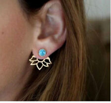 LOTUS FLOWER TURQUOISE DOUBLE EAR JACKET STUD EARRINGS
