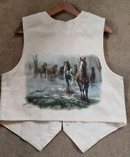 Vintage Horse Art Print Vest ~ Morning Gather ~ By Chuck Dehaan ~ Medium~ aqha